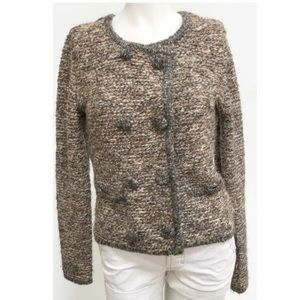 Cabi Tweed Sweater Small Tan Brown Buttons